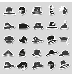 various black and gray hats stickers set eps10 vector image