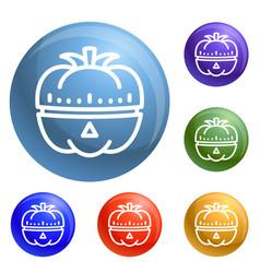 Vegetable kitchen timer icons set vector