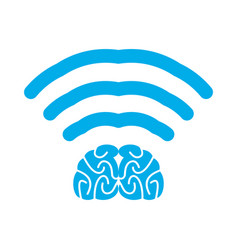 wi-fi brain wifi mind wireless connection vector image