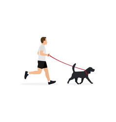 young man in sportswear running with dog on leash vector image
