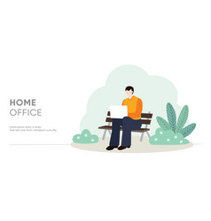 young man sitting on bench and working on laptop vector image