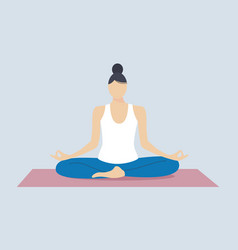 young woman going yogato stress release woman vector image
