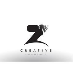 Z brushed letter logo black brush letters design vector