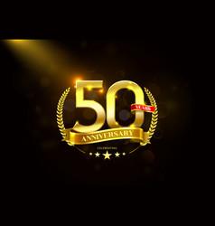 50 years anniversary with laurel wreath golden vector image vector image