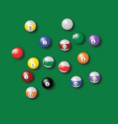 Billiard balls pool in green table drawing vector