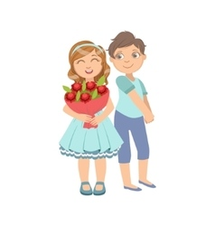 Girl with the bouquet and shy boy next to her vector