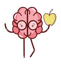 icon adorable kawaii brain eating apple vector image