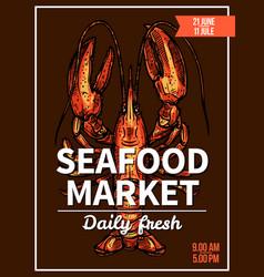 lobster crawfish sketch poster for seafood market vector image