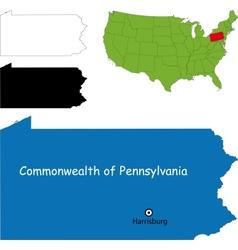Pennsylvania map vector image vector image
