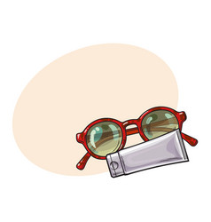 round sunglasses in plastic frame and sun tan vector image vector image