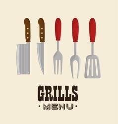 set grills menu tools design isolated vector image