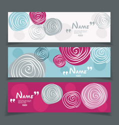 banner set with flower design vector image vector image