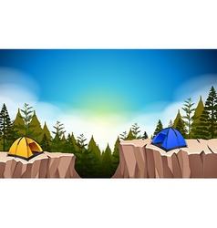 Camp site with two tents on the cliff vector image