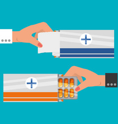 set hands with medical ointments treatment vector image vector image