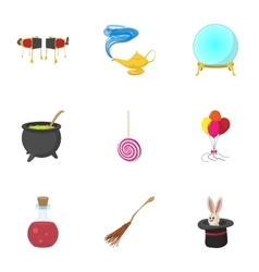 Sorcery icons set cartoon style vector image vector image