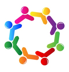 Teamwork social networking logo vector image vector image