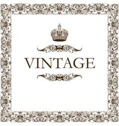 vintage frame decor crown vector image vector image