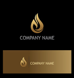water drop ecology gold logo vector image vector image