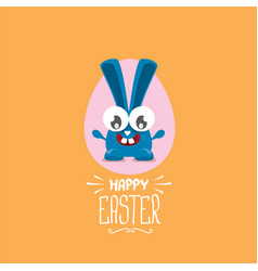 happy easter greeting card with funny bunny vector image vector image