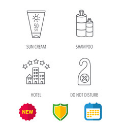 Hotel shampoo and sun cream icons vector