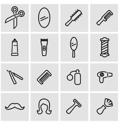 line barber icon set vector image