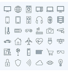 Line Internet of Things Icons Set vector image