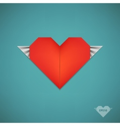 retro paper origami heart with wings vector image