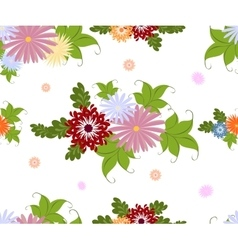Seamless colorful flower pattern on white vector image vector image