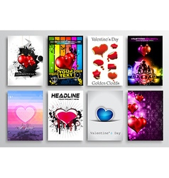 Set of Valentines Flyer Design Invitation Cards vector image vector image