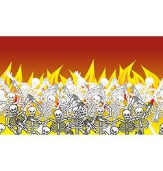 Sinners in fire hell horizontal pattern dead in vector image