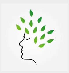 Womans face with green leaves as hair vector image vector image