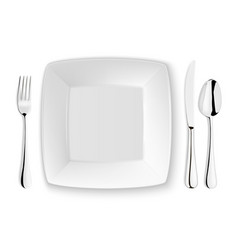 realistic spoon fork knife and dish plate vector image