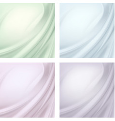 set of textile wavy folds abstract background vector image