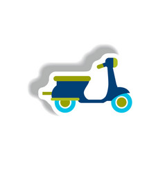 stylish icon in paper sticker style retro scooter vector image vector image