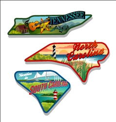 tennessee north carolina south carolina designs vector image vector image