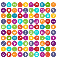 100 knowledge icons set color vector