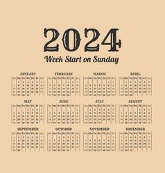 2024 year vintage calendar weeks start on sunday vector