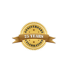 25 years anniversary celebration gold logo vector