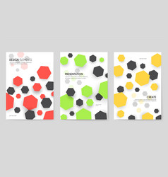 Abstract geometric pattern cards set shape colors vector