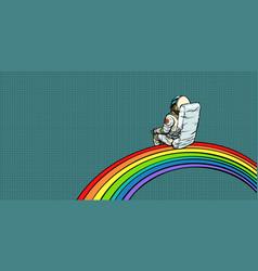astronaut sits on a rainbow vector image