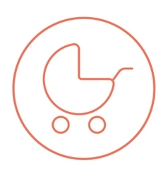 Baby stroller line icon vector