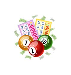 Bingo game cards and round kegs jackpot winning vector