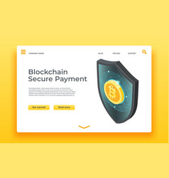 blockchain secure payment landing page isometric vector image