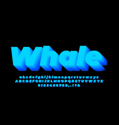 Blue blend 3d light alphabet or letter text vector