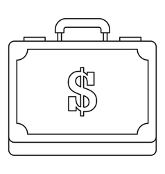 Briefcase full of money icon outline style vector