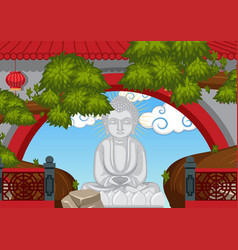 buddha statue behind the wall vector image