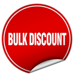 Bulk discount round red sticker isolated on white vector