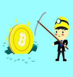 businessman standing with big coincartoon style vector image