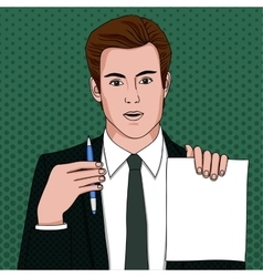 Businessman with document and pen vector