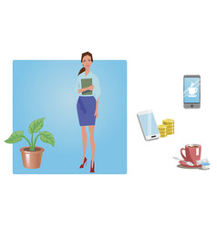 Businesswoman office worker employee manager vector